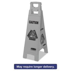 Rubbermaid - 1867510 - Executive 4-Sided Multi-Lingual Caution Sign, Gray, 11 9/10 x 38, 6/Carton