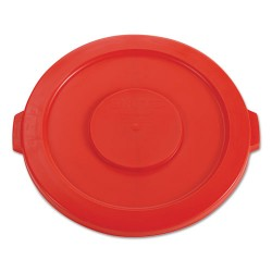 "Rubbermaid - RCP 2631 RED - Round Flat Top Lid, for 32-Gallon Round Brute Containers, 22 1/4"", dia., Red"