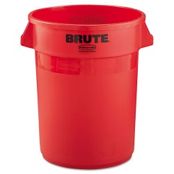 Rubbermaid - FG263200RED - Round Brute Container, Plastic, 32 gal, Red