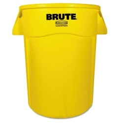 Rubbermaid - FG264360YEL - Brute Vented Trash Receptacle, Round, 44 gal, Yellow