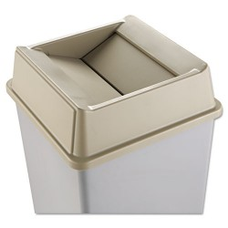 Rubbermaid - RCP 2664 BEI - Untouchable Square Swing Top Lid, Plastic, 20 1/8 x 20 1/8 x 6 1/4, Beige