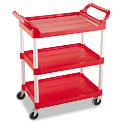 "Rubbermaid - 342488RD - Rubbermaid Commercial Swivel Casters Utility Cart - 3 Shelf - 200 lb Capacity - 4"" Caster Size - Plastic - 33.6"" Width x 18.6"" Depth x 37.8"" Height - Red, Brushed Aluminum"
