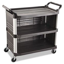 Rubbermaid - FG409300BLA - Xtra Utility Cart, 300-lb Cap, Three-Shelf, 20w x 40-5/8d x 37-4/5h, Black