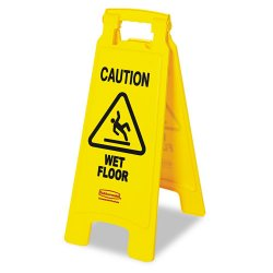 Rubbermaid - 6112-77-YEL - Floor Sign with Caution Wet Floor, 2-Sided (MOQ=6)