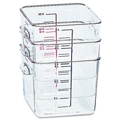 Rubbermaid - FG630800CLR - SpaceSaver Square Containers, 8qt, 8 4/5w x 8 3/4d x 8 3/4h, Clear