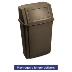 Rubbermaid - FG782200BRN - Slim Jim Wall-Mounted Container, Rectangular, Plastic, 15 gal, Brown