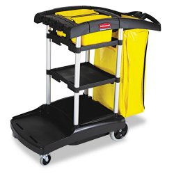 Rubbermaid - 9T7200BK - Rubbermaid High Capacity Cleaning Cart - 4 Casters - 4, 8 Caster Size - Plastic, Aluminum - 21.8 Width x 49.8 Depth x 38.3 Height - Black