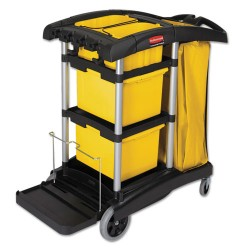 Rubbermaid - FG9T7300BLA - HYGEN M-fiber Healthcare Cleaning Cart, 22w x 48-1/4d x 44h, Black/Yellow/Silver