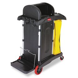 Rubbermaid - 9T75 - Rubbermaid High Security Microfiber Cleaning Cart - 4 Caster Size - Aluminum, Plastic - 22 Width x 48.3 Depth x 53.5 Height - Black, Yellow