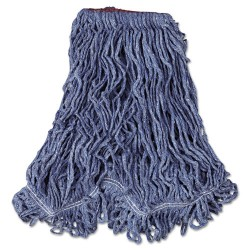 Rubbermaid - RCP D213 BLU - Super Stitch Blend Mop Head, Large, Cotton/Synthetic, Blue, 6/Carton