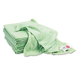 Rubbermaid - Q620CT - Rubbermaid General Purpose Cloth - 16 x 16 - Green - MicroFiber - Non-abrasive, Absorbent - 12 / Carton