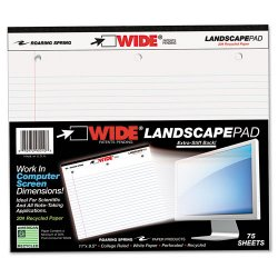 Roaring Springs - 95510 - WIDE Landscape Format Writing Pad, College Ruled, 11 x 9 1/2, White, 75 Sheets