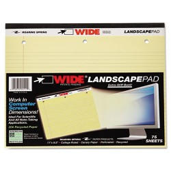 Roaring Springs - 95511 - WIDE Landscape Format Writing Pad, College Ruled, 11 x 9 1/2, Canary, 75 Sheets