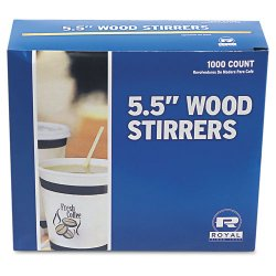 "Royal Paper - R810 - Wood Coffee Stirrers, 5 1/2"" Long, Woodgrain, 1000 Stirrers/Box"