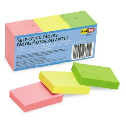 Redi-Tag - 23701 - Self-Stick Notes, 1 1/2 x 2, Neon, 12 100-Sheet Pads/Pack