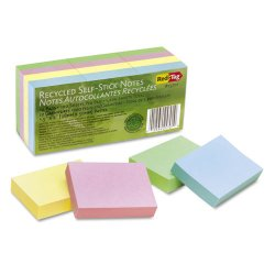 Redi-Tag - 25701 - 100% Recycled Notes, 1 1/2 x 2, Four Pastel Colors, 12 100-Sheet Pads/Pack