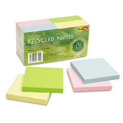 Redi-Tag - 26704 - 100% Recycled Notes, 3 x 3, Four Colors, 12 100-Sheet Pads/Pack