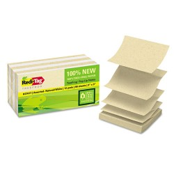 Redi-Tag - 27417 - Sugar Cane Self-Stick Notes, 3x3, White/Natural, 90 sheets/pad, 12 pads/PK