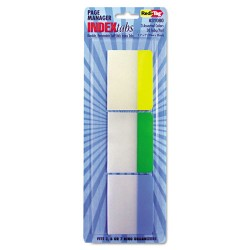 Redi-Tag - 31080 - Write-On Self-Stick Index Tabs, 1 1/2 x 2, Blue, Green, Yellow, 30/Pack