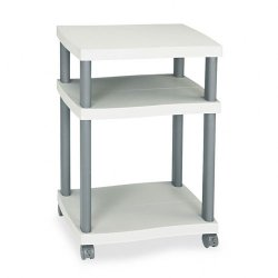 Safco - 1860GR - Safco Economy Desk Side Printer/Fax Stand - 100 lb Load Capacity - 2 x Shelf(ves) - 29.3 Height x 20 Width x 17.5 Depth - Floor - Plastic - Light Gray