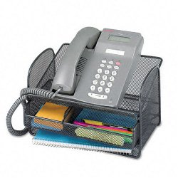 Safco - 2160BL - Safco Onyx Mesh Telephone Stand - 7 Height x 11.8 Width x 9.3 Depth - Desktop - Black - Steel - 1Each
