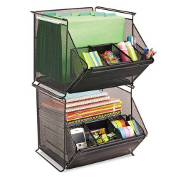 Safco - 2164BL - Safco Onyx Stackable Mesh Storage Bin - 4 Compartment(s) - 11.8 Height x 14 Width x 15.5 Depth - Black - Mesh, Steel - 1 / Each