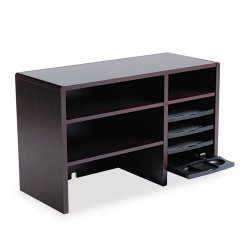 Safco - 3692MH - Safco Desktop Organizer - 5 Compartment(s) - 18 Height x 29 Width x 12 Depth - Desktop - Recycled - Mahogany - Wood - 1Each