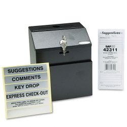 "Safco - 4232BL - Safco Suggestion Box - External Dimensions: 7.3"" Width x 6"" Depth x 8.5"" Height - 25 x Card - Key Lock Closure - Steel - Black - 1 Each"