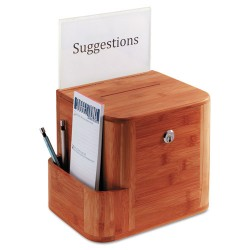 Safco - 4237CY - Safco Bamboo Suggestion Box - External Dimensions: 10 Width x 8 Depth x 14 Height - Key Lock Closure - Bamboo, Acrylic - Cherry - For Suggestion Card, Pen/Pencil - 1 Each