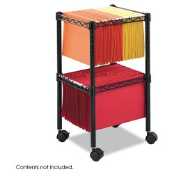 """Safco - 5221BL - Safco 2-Tier Compact File Cart - 4 Casters - 2"""" Caster Size - Steel - 15.5"""" Width x 14"""" Depth x 27.5"""" Height - Black"""