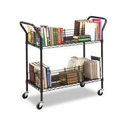 Safco - 5333BL - Safco Double Sided Wire Book Cart - 4 Shelf - 200 lb Capacity - 4 Casters - 3 Caster Size - Steel - 34 Width x 19.3 Depth x 40.5 Height - Black