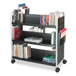 Safco - 5335BL - Safco Scoot Double Sided Book Cart - 6 Shelf - 4 Casters - 3 Caster Size - Steel - 41.3 Width x 17.8 Depth x 41.3 Height - Black, Silver