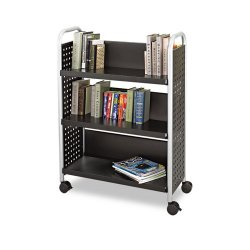 Safco - 5336BL - Safco Scoot Single Sided Book Cart - 3 Shelf - 4 Casters - 3 Caster Size - Steel - 33 Width x 14.3 Depth x 44.3 Height - Black, Silver