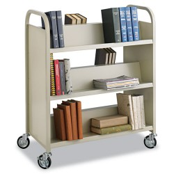 Safco - 5357SA - Safco Steel Shelf Double-Sided Book Carts, 6-Shelf Cart - 6 Shelf - 2.50 Caster Size - Steel - 36 Width x 18.5 Depth x 43.5 Height - Sand