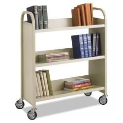 Safco - 5358SA - Safco Steel 3-Shelf Single-Sided Book Carts - 3 Shelf - 2.50 Caster Size - Steel - 36 Width x 14.5 Depth x 43.5 Height - Sand