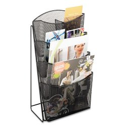 Safco - 5640BL - Safco Steel Mesh Magazine Rack - 4 Compartment(s) - 4 Divider(s) - 18 Height x 9.8 Width x 6.5 Depth - Black - Steel - 1Each