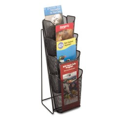 Safco - 5641BL - Safco Steel Mesh Pamphlet Display - 4 Compartment(s) - 16.5 Height x 5.3 Width x 7 Depth - Black - Steel - 1Each