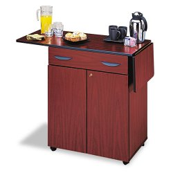 Safco - 8962MH - Safco Hospitality Service Cart - 4 Casters - Wood - 32.5 Width x 20.5 Depth x 38.8 Height - Mahogany