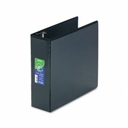 Samsill - 16490 - Samsill Non-stick View D-Ring Binder - 4 Binder Capacity - Letter - 11 x 8 1/2 Sheet Size - D-Ring Fastener - 2 Internal Pocket(s) - Polypropylene - Black - Recycled - 1 Each