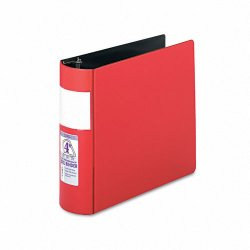 Samsill - 17693 - Samsill Contour Cover D-Ring Reference Binder - 4 Binder Capacity - D-Ring Fastener - Red - Recycled - 1 / Each
