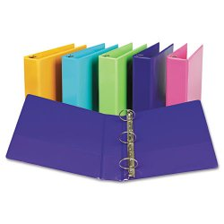 "Samsill - U86608 - Samsill Presentation View Binder - 2"" Binder Capacity - Letter - 8 1/2"" x 11"" Sheet Size - 450 Sheet Capacity - Round Ring Fastener - 2 Internal Pocket(s) - Vinyl, Chipboard - Purple - Recycled - 2 / Pack"