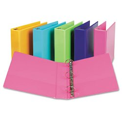 "Samsill - U86676 - Samsill Fashion Color Presentation View Binders - 2"" Binder Capacity - Letter - 8 1/2"" x 11"" Sheet Size - 450 Sheet Capacity - Round Ring Fastener - 2 Internal Pocket(s) - Vinyl, Chipboard - Hot Pink - Recycled - 2 / Pack"