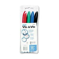 Sanford - 16074 - Expo Vis- -Vis Wet Erase Overhead Transparency Markers - Fine Marker Point Type - Black, Red, Green, Blue Ink - White Barrel - 4 / Set