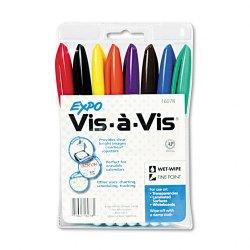 Sanford - 16078 - Expo Vis- -Vis Wet Erase Overhead Transparency Markers - Fine Marker Point Type - Assorted Ink - White Barrel - 8 / Set