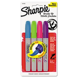 Sanford - 1810702 - Sharpie Brush Tip Permanent Marker - Assorted Ink - 4 / Pack
