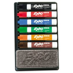 Sanford - 80556 - Expo II Dry Erase Marker Organizers - Chisel Marker Point Style - Red, Blue, Green, Orange, Brown, Black Ink - Assorted Barrel - 6 / Set