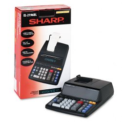 "Sharp - EL2196BL - Sharp Calculators EL-2196BL Printing Calculator - 3.7 - 4-Key Memory, Heavy Duty, Item Count - AC Supply Powered - 5"" x 10.3"" x 12.9"" x 17"" - Black - 1 Each"