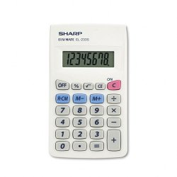 "Sharp - EL233SB - Sharp Calculators Sharp EL233SB 8-Digit Pocket Calculator - Big Display, Auto Power Off - 8 Digits - LCD - Battery Powered - 0.5"" x 2.3"" x 3.8"" - White, Gray - Plastic - 1 Each"