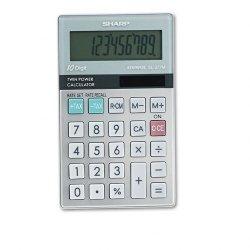 Sharp - EL377TB - Sharp Calculators EL376G Pocket Calculator - Big Display, Auto Power Off - 10 Digits - LCD - Battery/Solar Powered - 1 - 2.8 x 4.1 x 0.2 - Gray - 1 Each