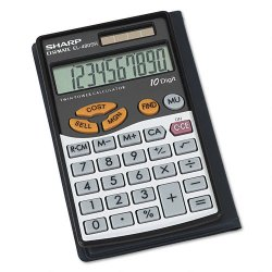 Sharp - EL480SRB - Sharp Calculators EL480 Handheld Calculator - Dual Power, Extra Large Display, Sign Change, 3-Key Memory - 10 Digits - LCD - Battery/Solar Powered - 2.7 x 4.7 x 0.3 - Black - 1 Each